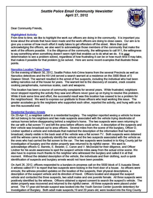 SPD community newsletter, April 2012 - page 1 of 2
