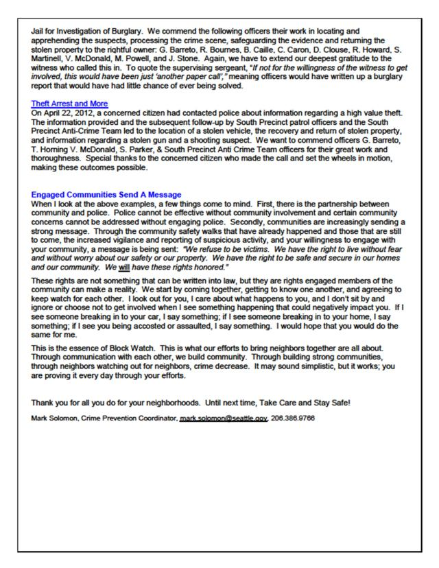 SPD community newsletter, April 2012 - page 2 of 2