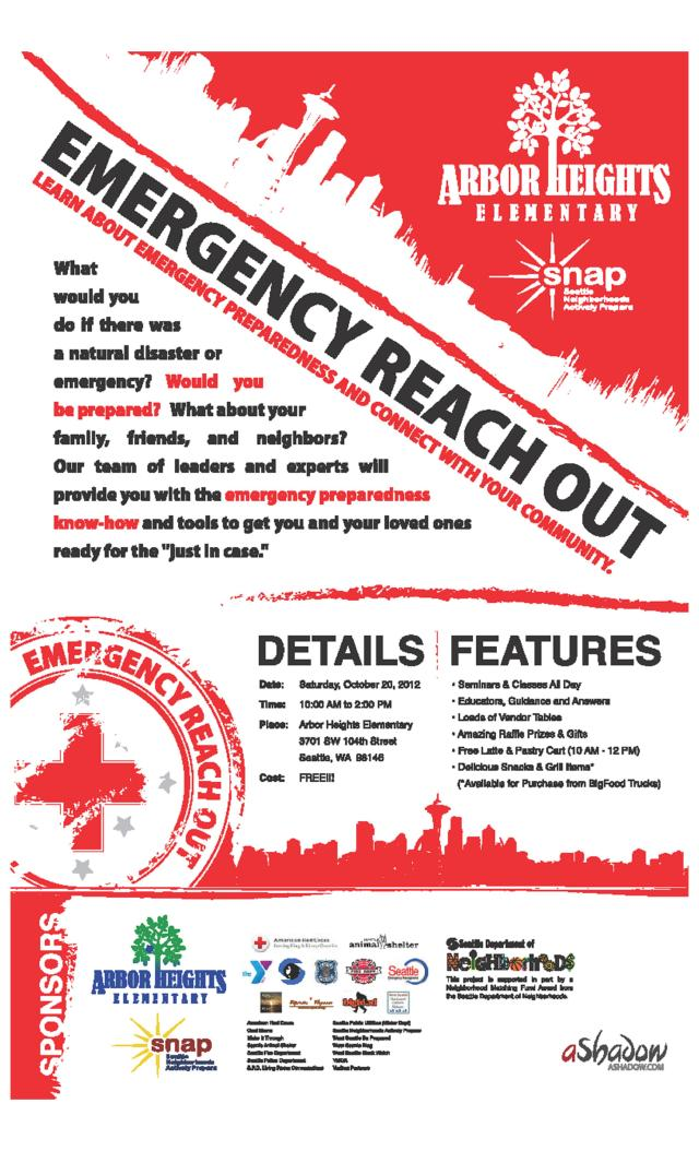 "Arbor Heights ""Emergency Reach Out"" event, October 2012, event flyer"